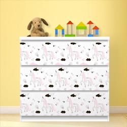 nikima - 018 Möbelfolie für IKEA MALM - Einhorn - 3 Schubladen Aufkleber Sticker Klebefolie  (Möbel nicht inklusive)