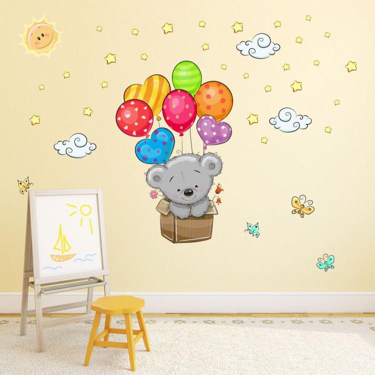 076 Wandtattoo Teddy In Kiste Luftballon Kinderzimmer