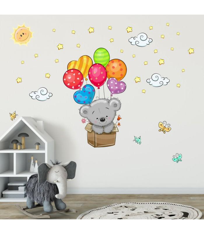 076 wandtattoo teddy in kiste luftballon kinderzimmer for Sticker wand kinderzimmer