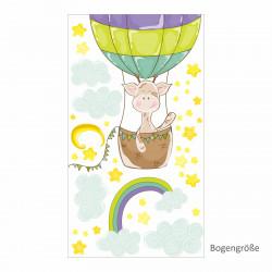 nikima - 077 Wandtattoo Giraffe Ballon Kinderzimmer Luftballon