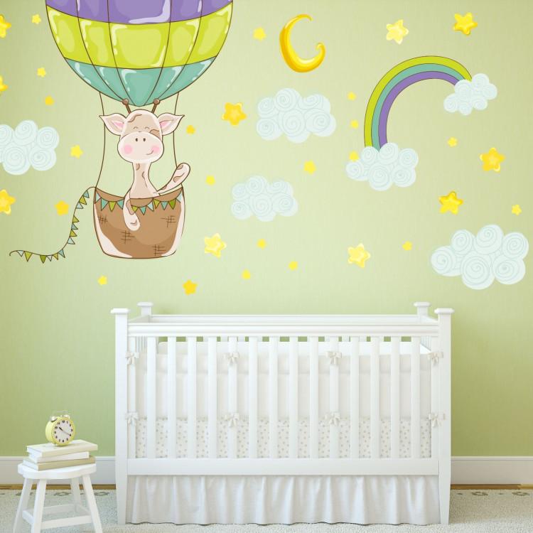 077 Wandtattoo Giraffe Ballon Kinderzimmer Luftballon