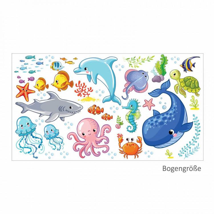 nikima - 078 Wandtattoo Wasserwelten Kinderzimmer Wal Delfin Fische Hai Sticker Aufkleber