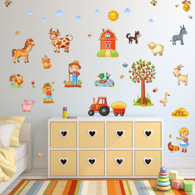nikima 079 wandtattoo bauernhof traktor kinderzimmer. Black Bedroom Furniture Sets. Home Design Ideas