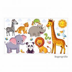 nikima - 080 Wandtattoo Tiere Kinderzimmer Elefant Löwe Giraffe