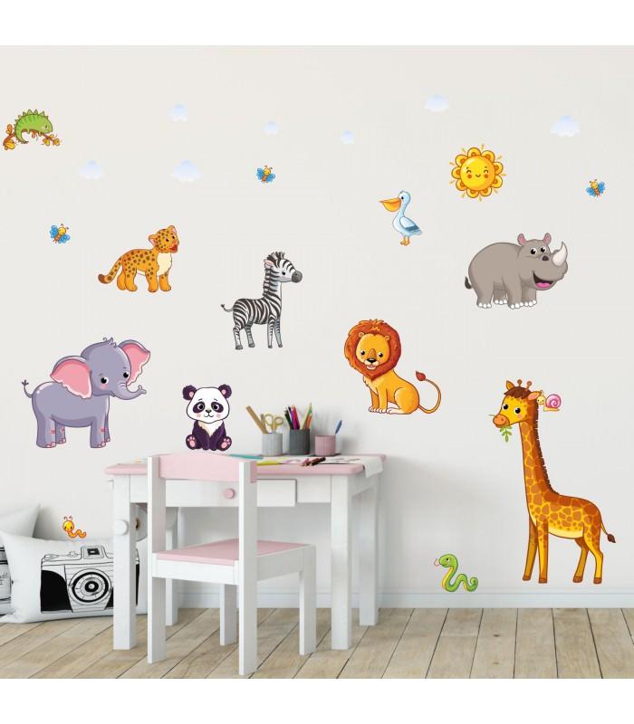 080 Wandtattoo Tiere Kinderzimmer Elefant Löwe Giraffe