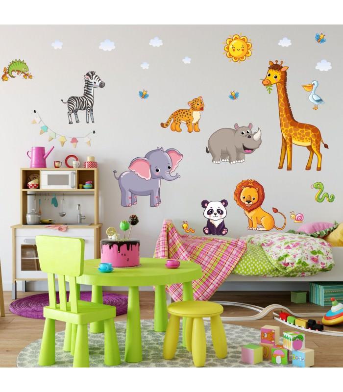080 wandtattoo tiere kinderzimmer elefant l we giraffe for Kinderzimmer bilder tiere
