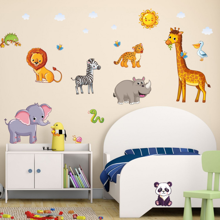nikima 080 wandtattoo tiere kinderzimmer elefant l we giraffe. Black Bedroom Furniture Sets. Home Design Ideas
