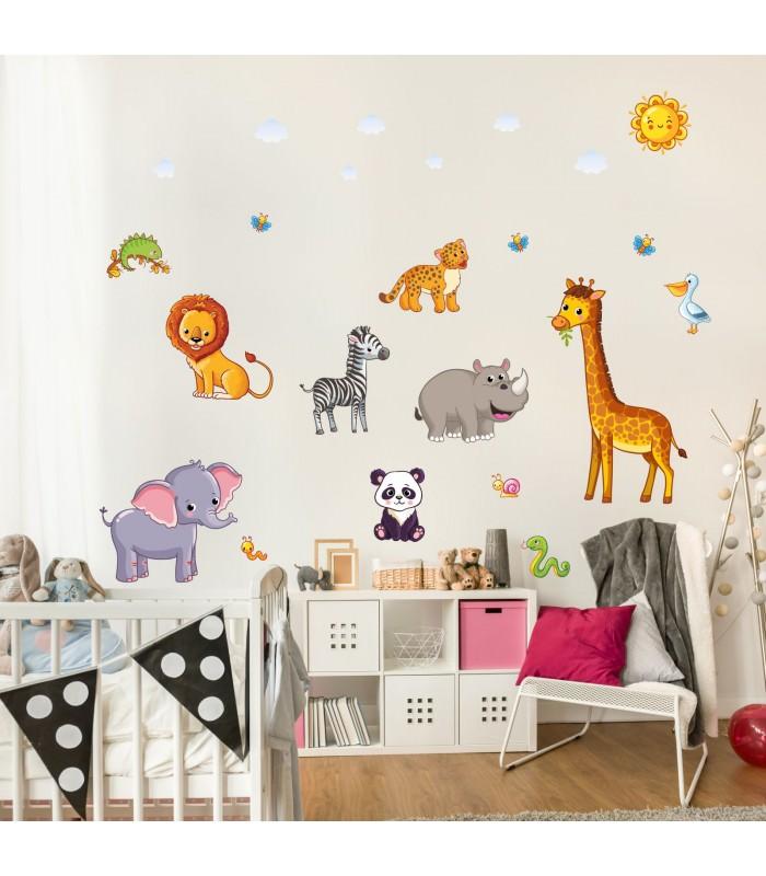 080 wandtattoo tiere kinderzimmer elefant l we giraffe for Wandtattoo kinderzimmer tiere