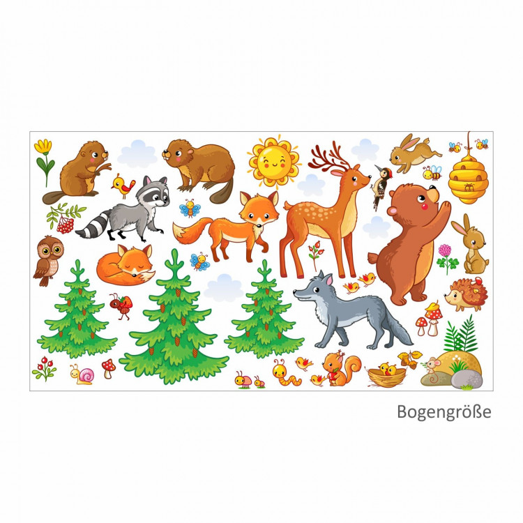 nikima - 081 Wandtattoo Waldtiere Kinderzimmer Sticker Aufkleber Bär Fuchs Eule Hirsch