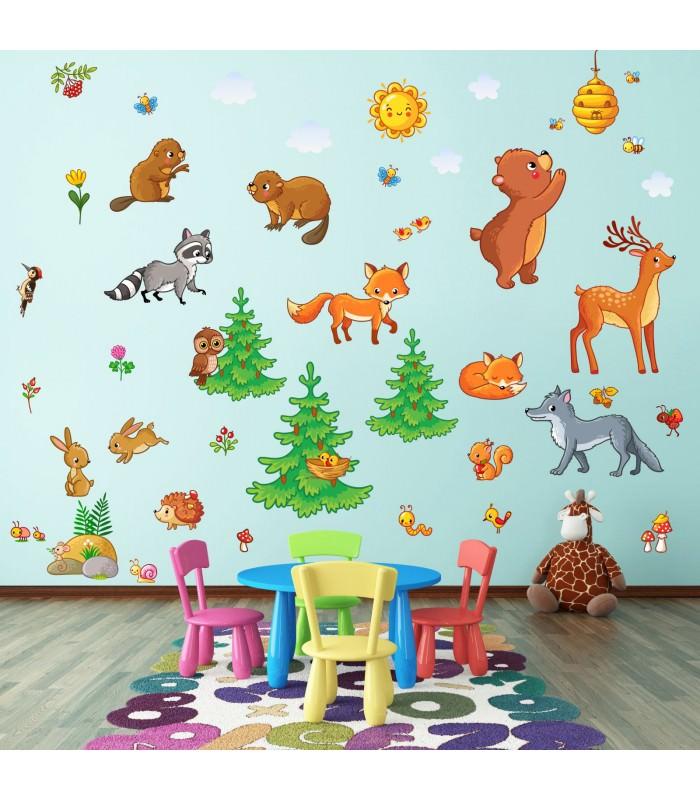 nikima 081 wandtattoo waldtiere kinderzimmer sticker. Black Bedroom Furniture Sets. Home Design Ideas