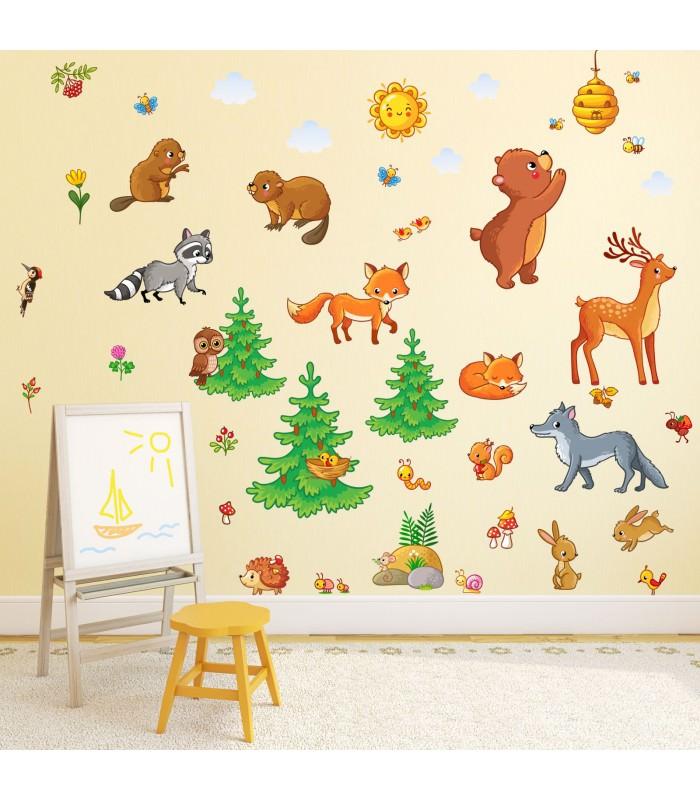 nikima 081 wandtattoo waldtiere kinderzimmer sticker aufkleber b r fuchs eule hirsch. Black Bedroom Furniture Sets. Home Design Ideas