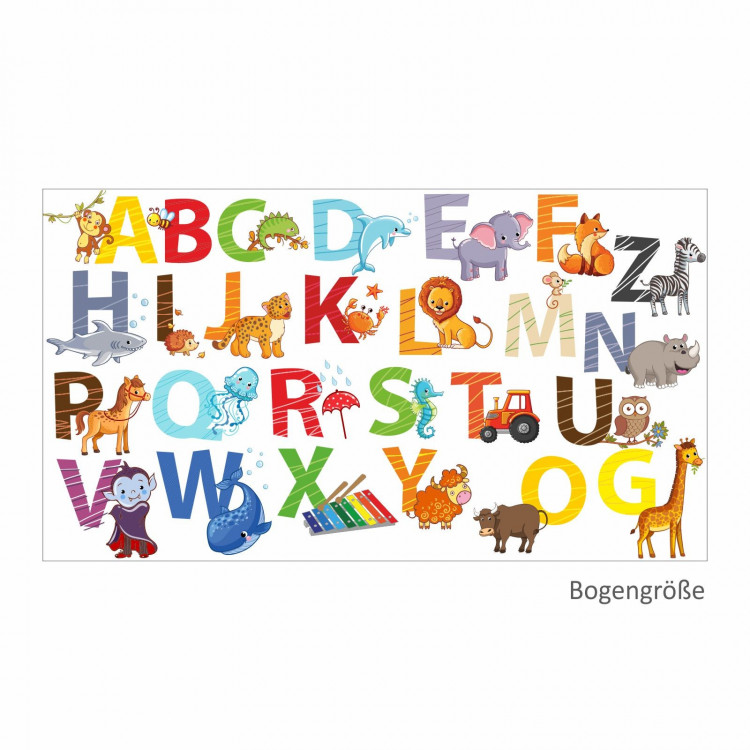 084 Wandtattoo Alphabet Tiere ABC Kinderzimmer Sticker