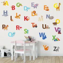 nikima - 084 Wandtattoo Alphabet Tiere ABC Kinderzimmer Sticker Aufkleber
