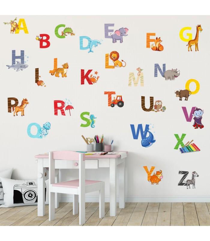 nikima 084 wandtattoo alphabet tiere abc kinderzimmer sticker. Black Bedroom Furniture Sets. Home Design Ideas