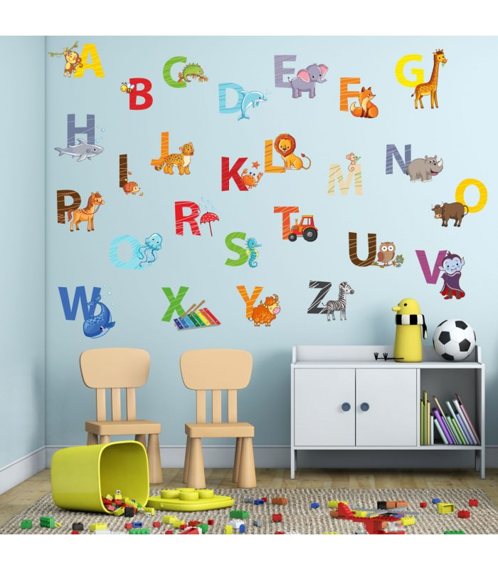 nikima 084 wandtattoo alphabet tiere abc kinderzimmer sticker. Black Bedroom Furniture Sets. Home Design Ideas