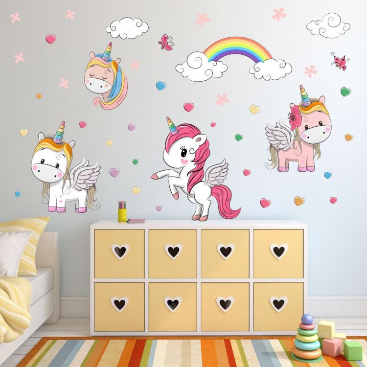 086 wandtattoo einhorn regenbogen kinderzimmer sticker. Black Bedroom Furniture Sets. Home Design Ideas
