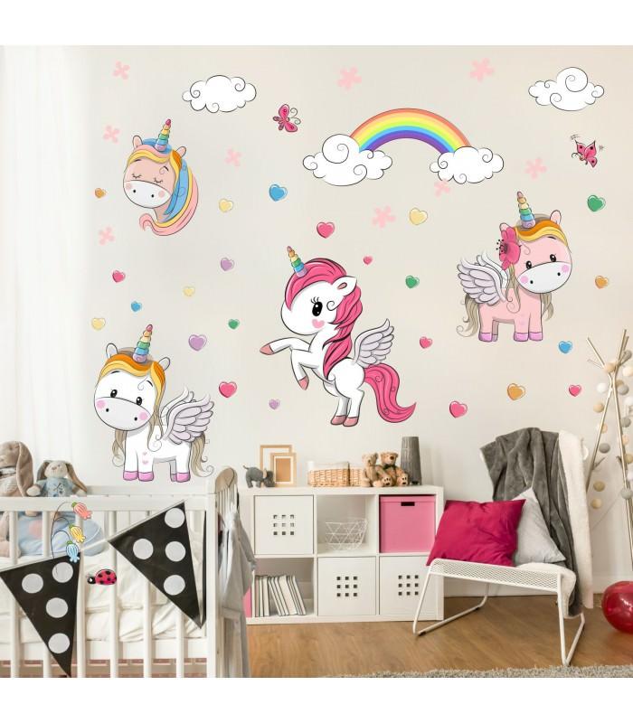 086 Wandtattoo Einhorn Regenbogen Kinderzimmer Sticker