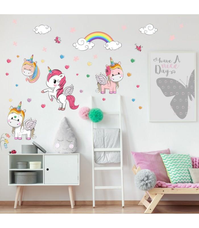 nikima 086 wandtattoo einhorn regenbogen kinderzimmer. Black Bedroom Furniture Sets. Home Design Ideas