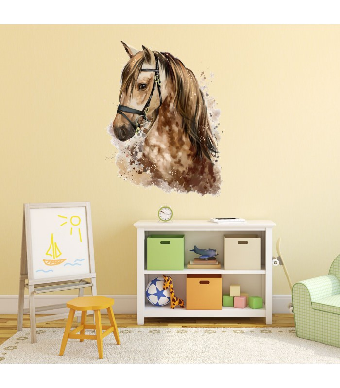085 Wandtattoo Pferd Kopf braun Kinderzimmer Sticker