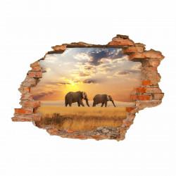 nikima - 091 Wandtattoo Elefant Sonnenuntergang Savanne - Loch in der Wand