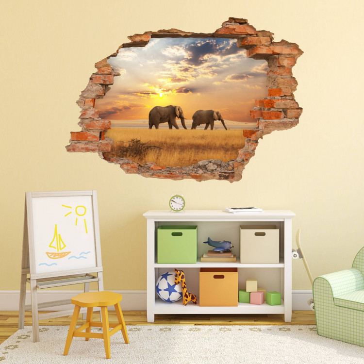 nikima 091 wandtattoo elefant sonnenuntergang savanne loch in der wand. Black Bedroom Furniture Sets. Home Design Ideas