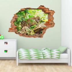 nikima - 092 Wandtattoo Leopard Baum Dschungel grün - Loch in der Wand