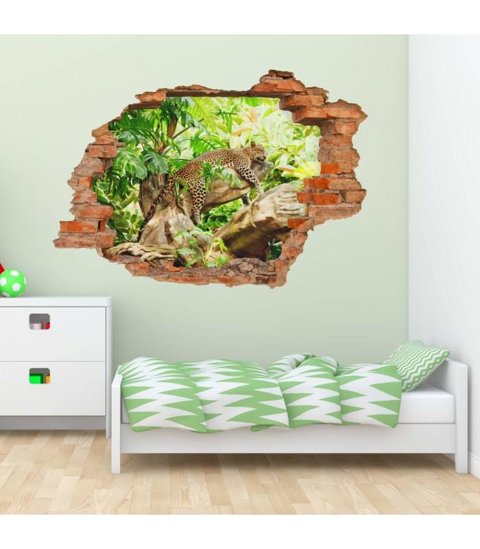 092 wandtattoo leopard baum dschungel gr n. Black Bedroom Furniture Sets. Home Design Ideas