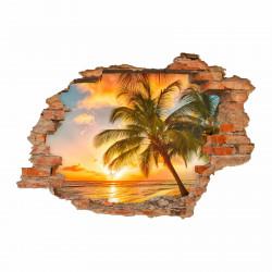 nikima - 094 Wandtattoo Paradies Sonnenuntergang Strand Palmen - Loch in der Wand