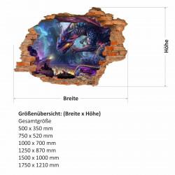 nikima - 097 Wandtattoo Drache Fantasy - Loch in der Wand