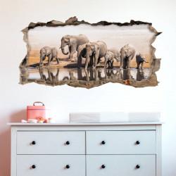 nikima - 098 Wandtattoo Elefanten Familie- Loch in der Wand