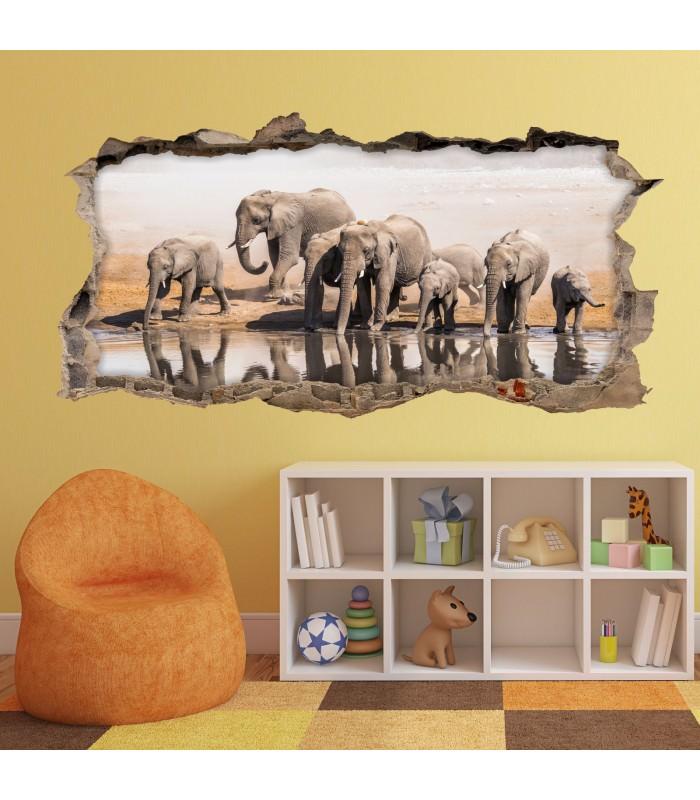 098 wandtattoo elefanten familie loch in der wand - Loch in der wand ...