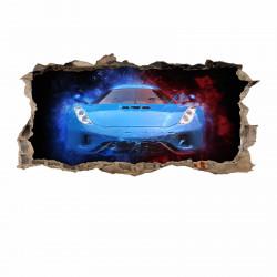 nikima - 107 Wandtattoo Sportwagen blau - Loch in der Wand