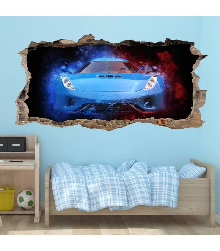 Nikima 107 wandtattoo sportwagen blau loch in der wand - Loch in der wand ...