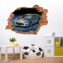 nikima - 108 Wandtattoo Rennwagen Sportwagen silber gelb - Loch in der Wand