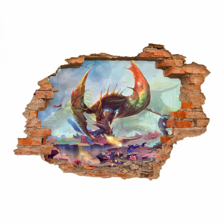nikima - 099 Wandtattoo Drache 2 Feuer spucken Fantasy - Loch in der Wand