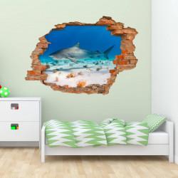 nikima - 100 Wandtattoo Hai Wasser Sand - Loch in der Wand