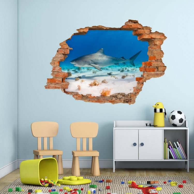 100 Wandtattoo Hai Wasser Sand - Loch in der Wand