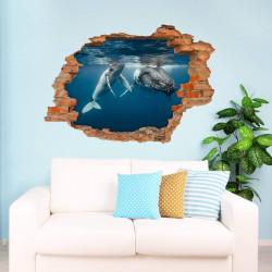 nikima - 101 Wandtattoo Buckelwal Unterwasser - Loch in der Wand