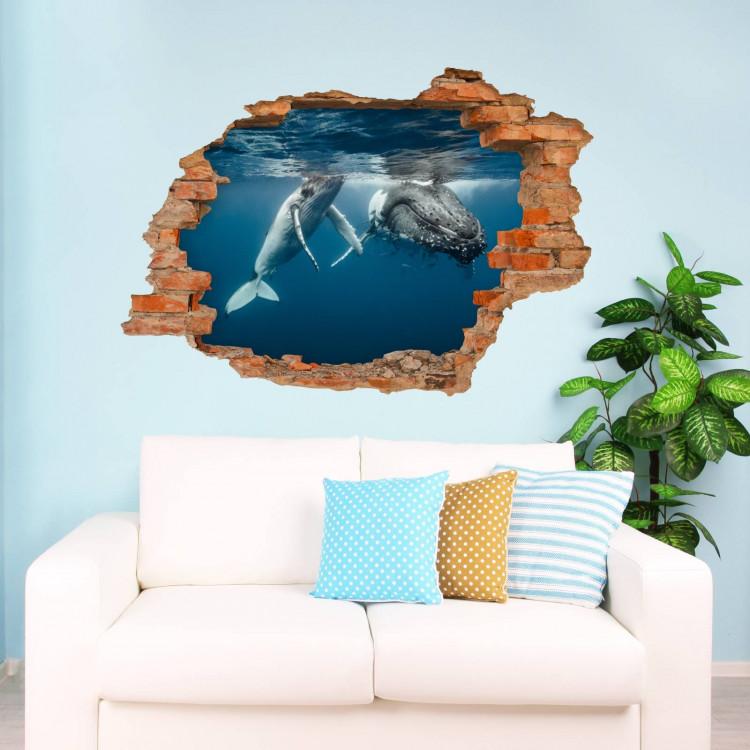 Nikima 101 wandtattoo buckelwal unterwasser loch in - Loch in der wand ...