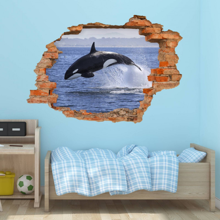 nikima 102 wandtattoo orca killerwal schwertwal loch in der wand. Black Bedroom Furniture Sets. Home Design Ideas