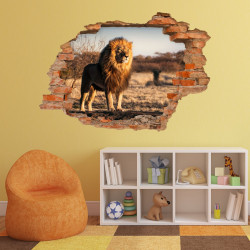 nikima - 103 Wandtattoo Löwe Savanne - Loch in der Wand