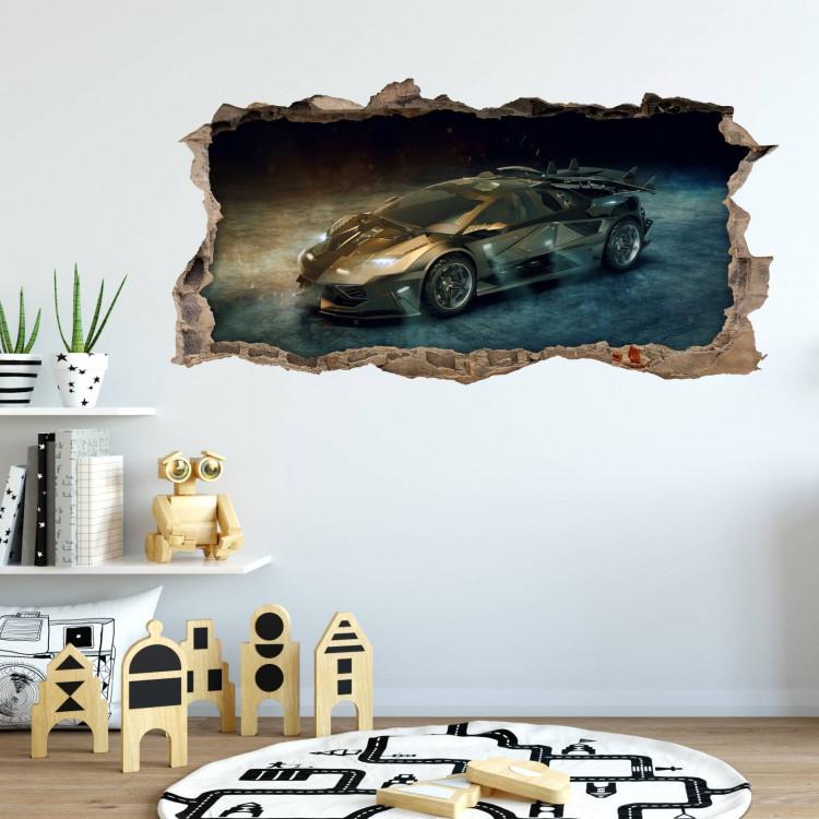 nikima 104 wandtattoo sportwagen schwarz gold loch in der wand. Black Bedroom Furniture Sets. Home Design Ideas
