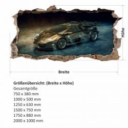 nikima - 104 Wandtattoo Sportwagen schwarz gold - Loch in der Wand