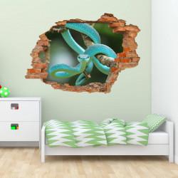nikima - 105 Wandtattoo Schlange Ast grün blau - Loch in der Wand