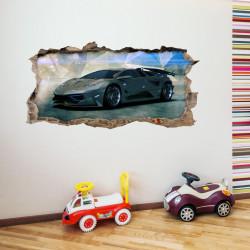nikima - 106 Wandtattoo Sportwagen schwarz - Loch in der Wand