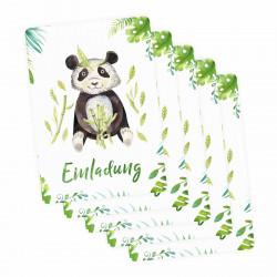 5 Einladungskarten Panda Dschungel Indianer inkl. 5 transparenten Briefumschlägen Kindergeburtstag Mädchen Junge