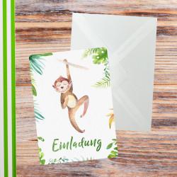 5 Einladungskarten Affe Dschungel grün inkl. 5 transparenten Briefumschlägen Kindergeburtstag Mädchen Junge