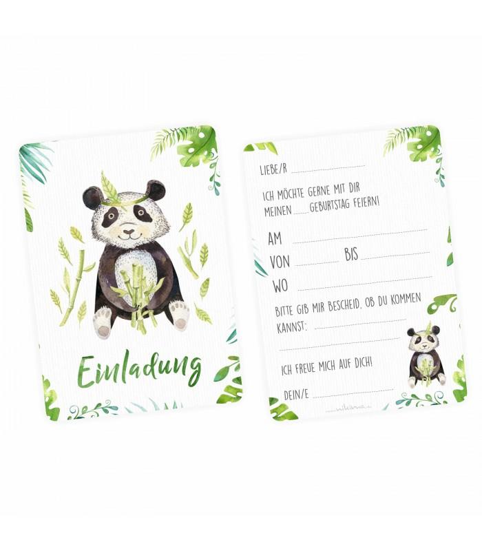 5 · 5 Einladungskarten SET   Krokodil, Panda, Faultier, Giraffe, Affe Inkl.