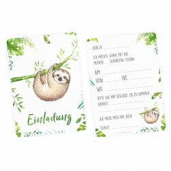5 Einladungskarten SET - Krokodil, Panda, Faultier, Giraffe, Affe inkl. 5 Briefumschlägen Kindergeburtstag Mädchen Junge
