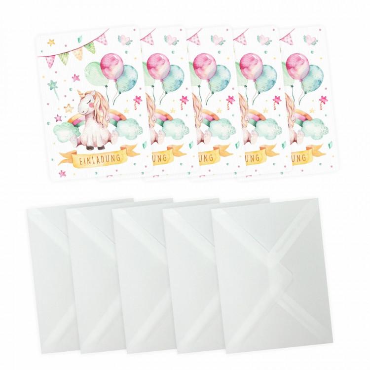 5 Einladungskarten Einhorn mit Glitzer inkl. 5 transparenten Briefumschlägen Kindergeburtstag Mädchen